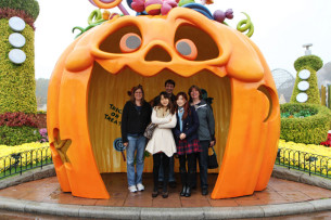 Yunjoo, me, mom, aunt, and Yunjoo's friend at Everland